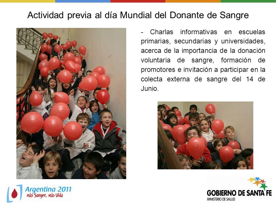 Actividad previa al día Mundial del Donante de Sangre - Charlas informativas en escuelas primarias, secundarias y universidades, acerca de la importan