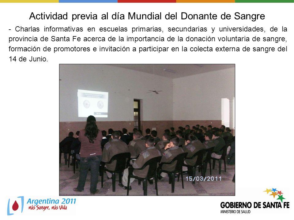 Actividad previa al día Mundial del Donante de Sangre - Charlas informativas en escuelas primarias, secundarias y universidades, de la provincia de Sa