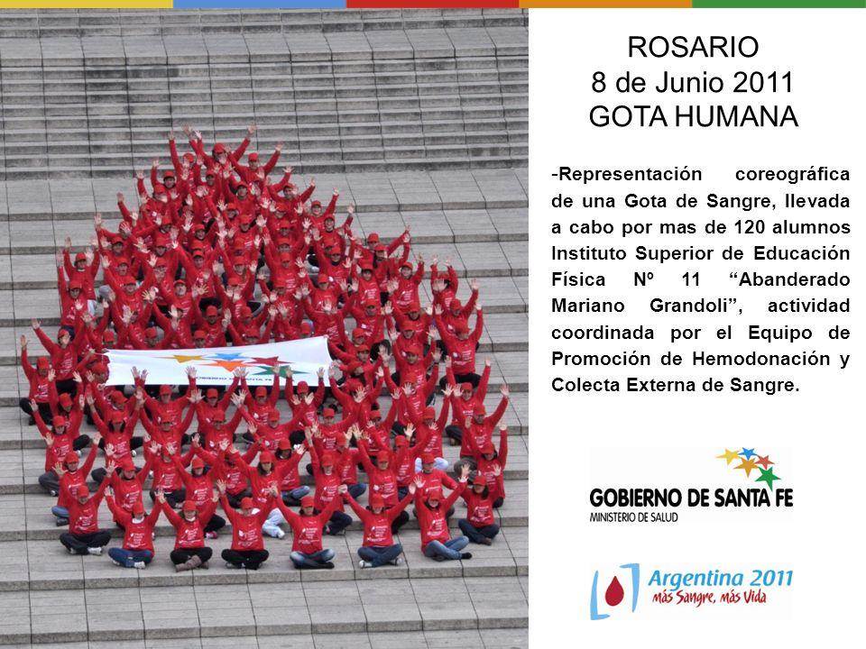 ROSARIO 8 de Junio 2011 GOTA HUMANA - Representación coreográfica de una Gota de Sangre, llevada a cabo por mas de 120 alumnos Instituto Superior de E
