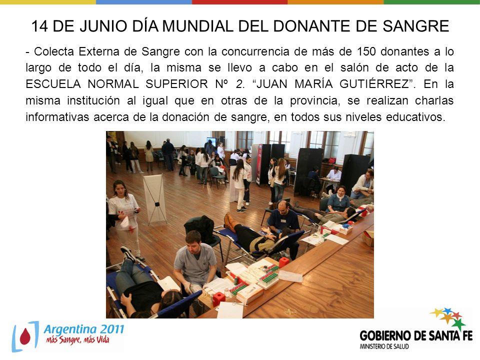 14 DE JUNIO DÍA MUNDIAL DEL DONANTE DE SANGRE - Colecta Externa de Sangre con la concurrencia de más de 150 donantes a lo largo de todo el día, la mis