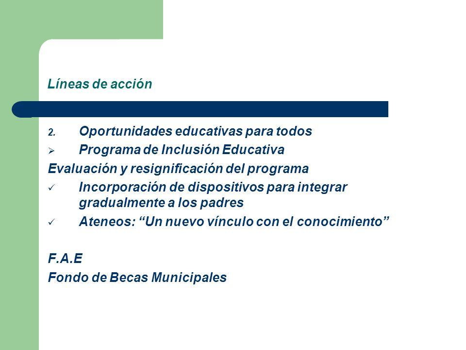 Líneas de acción 2. Oportunidades educativas para todos Programa de Inclusión Educativa Evaluación y resignificación del programa Incorporación de dis