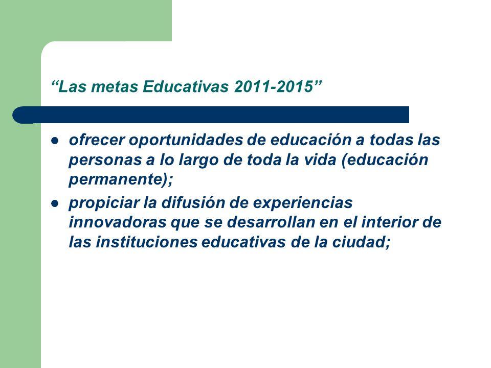 Las metas Educativas 2011-2015 ofrecer oportunidades de educación a todas las personas a lo largo de toda la vida (educación permanente); propiciar la