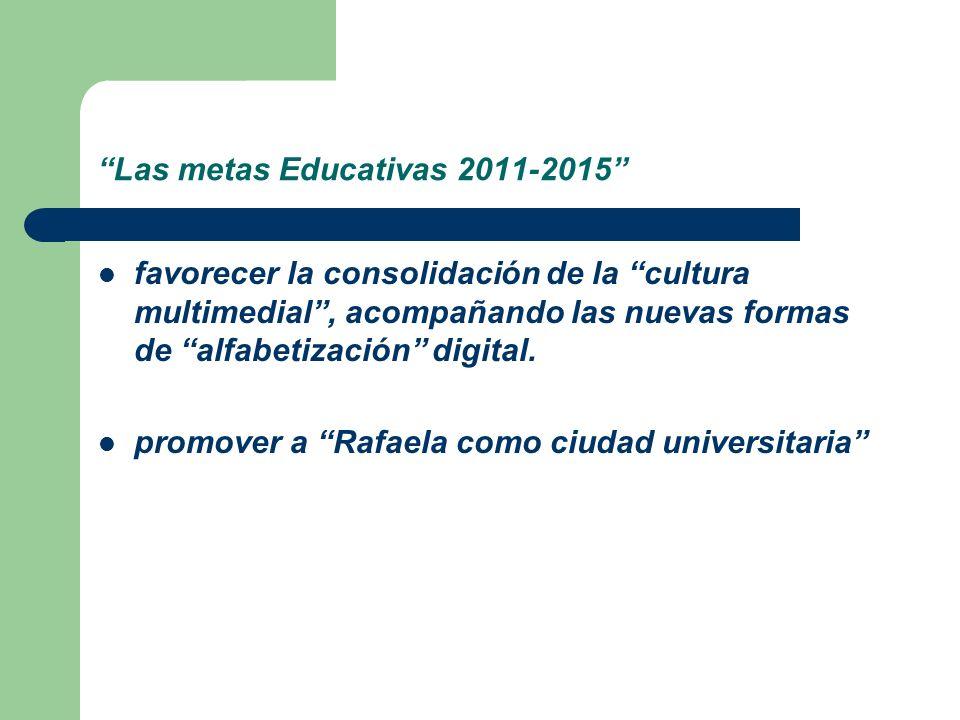 Las metas Educativas 2011-2015 favorecer la consolidación de la cultura multimedial, acompañando las nuevas formas de alfabetización digital. promover