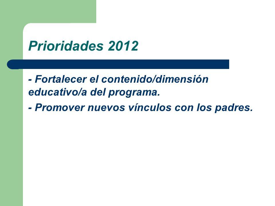 Prioridades 2012 - Fortalecer el contenido/dimensión educativo/a del programa. - Promover nuevos vínculos con los padres.
