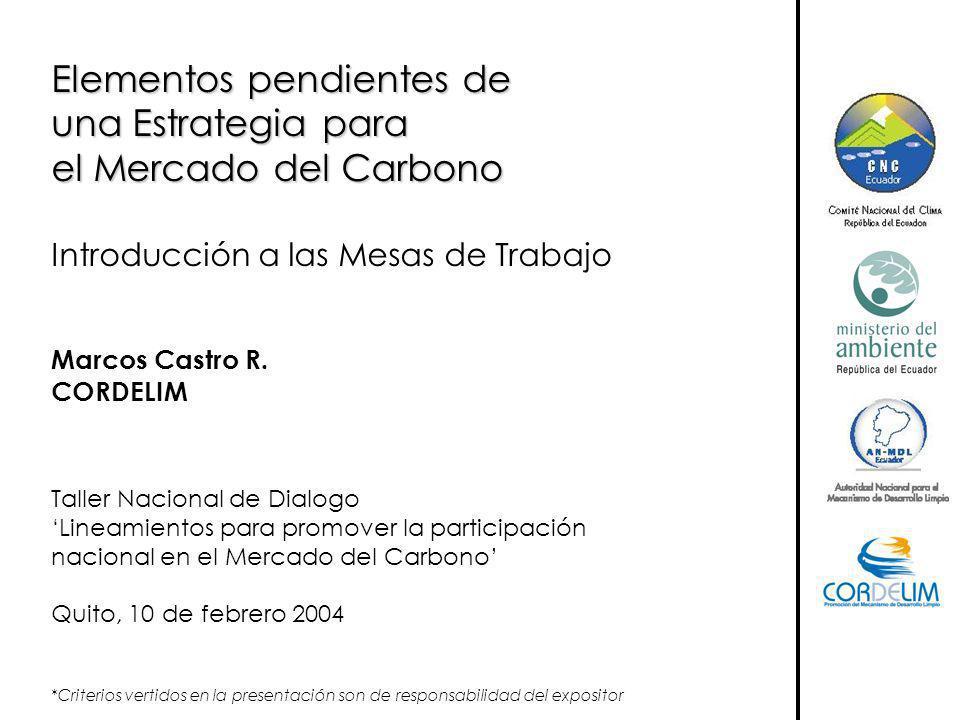 Elementos pendientes de una Estrategia para el Mercado del Carbono Introducción a las Mesas de Trabajo Marcos Castro R. CORDELIM Taller Nacional de Di