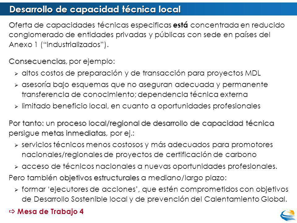 Desarrollo de capacidad técnica local O Oferta de capacidades técnicas especificas está concentrada en reducido conglomerado de entidades privadas y públicas con sede en países del Anexo 1 (industrializados).