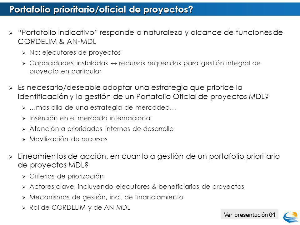 Portafolio Indicativo responde a naturaleza y alcance de funciones de CORDELIM & AN-MDL No: ejecutores de proyectos Capacidades instaladas recursos re