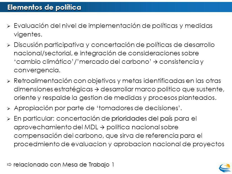 Evaluación del nivel de implementación de políticas y medidas vigentes. Discusión participativa y concertación de políticas de desarrollo nacional/sec