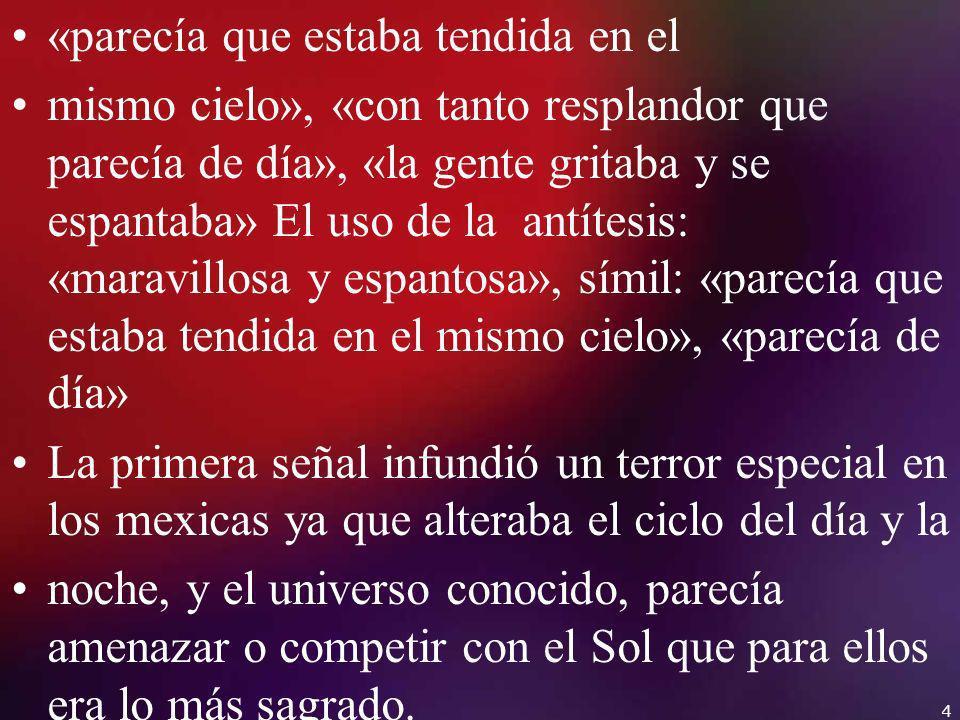 Las acciones del pueblo indígena apuntan al miedo e incomprensión ante los fenómenos sobrenaturales que presagian la llegada de los españoles («la gente gritaba y se espantaba», «dándose palmadas en las bocas»).