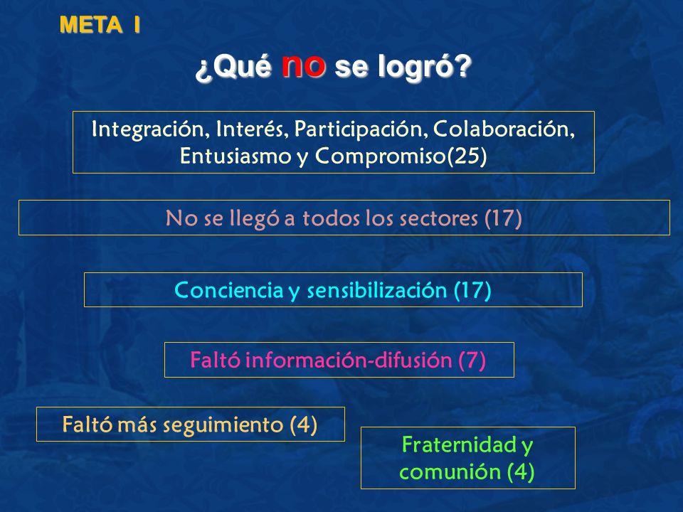 ¿Qué no se logró? META I Integración, Interés, Participación, Colaboración, Entusiasmo y Compromiso(25) No se llegó a todos los sectores (17) Concienc