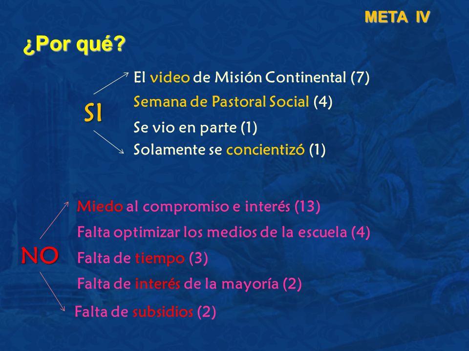 ¿Por qué? META IV El video de Misión Continental (7) Semana de Pastoral Social (4) Se vio en parte (1) Miedo al compromiso e interés (13) Falta optimi