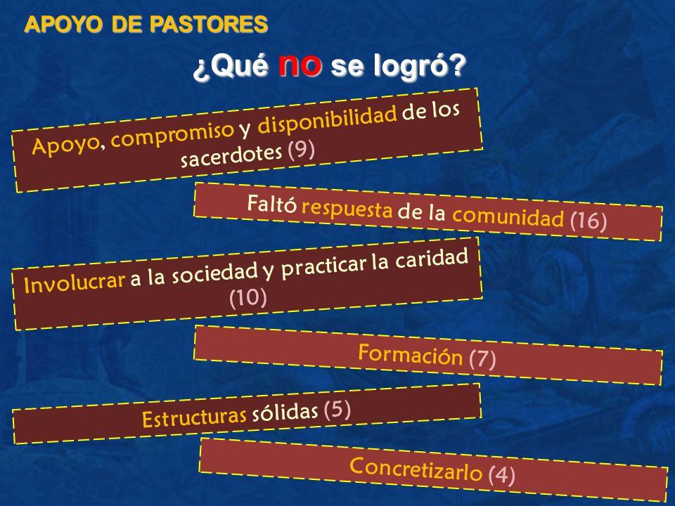 ¿Qué no se logró? APOYO DE PASTORES Apoyo, compromiso y disponibilidad de los sacerdotes (9) Faltó respuesta de la comunidad (16) Involucrar a la soci