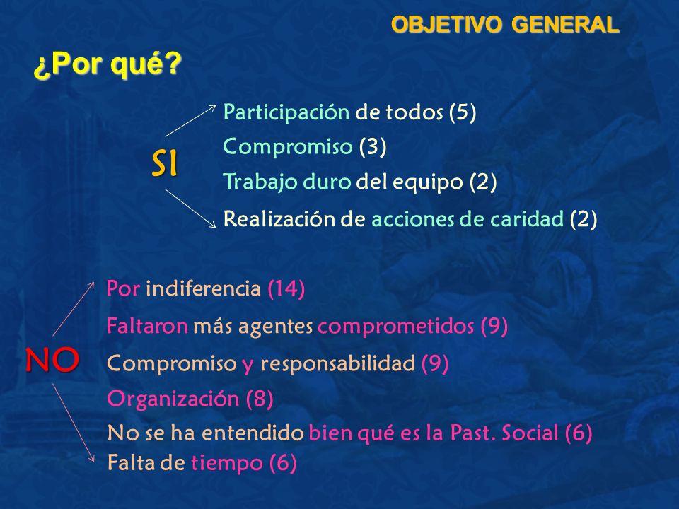 ¿Por qué? OBJETIVO GENERAL Participación de todos (5) Compromiso (3) Trabajo duro del equipo (2) Por indiferencia (14) Faltaron más agentes comprometi