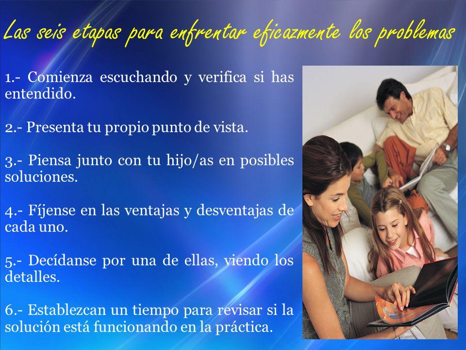 1.- Comienza escuchando y verifica si has entendido. 2.- Presenta tu propio punto de vista. 3.- Piensa junto con tu hijo/as en posibles soluciones. 4.
