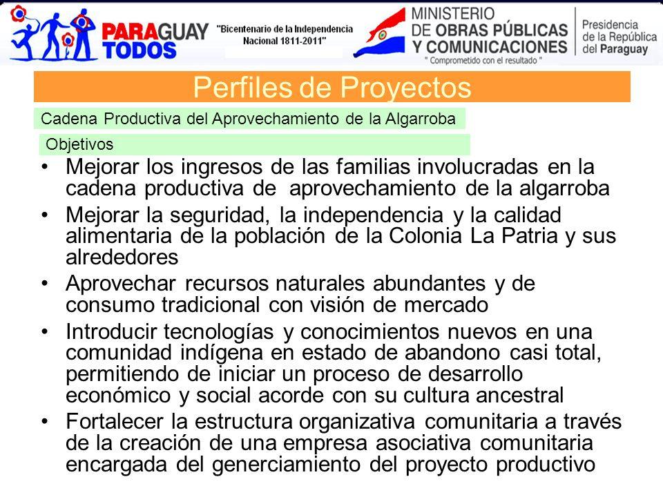 Perfiles de Proyectos Cadena Productiva del Aprovechamiento de la Algarroba Mejorar los ingresos de las familias involucradas en la cadena productiva
