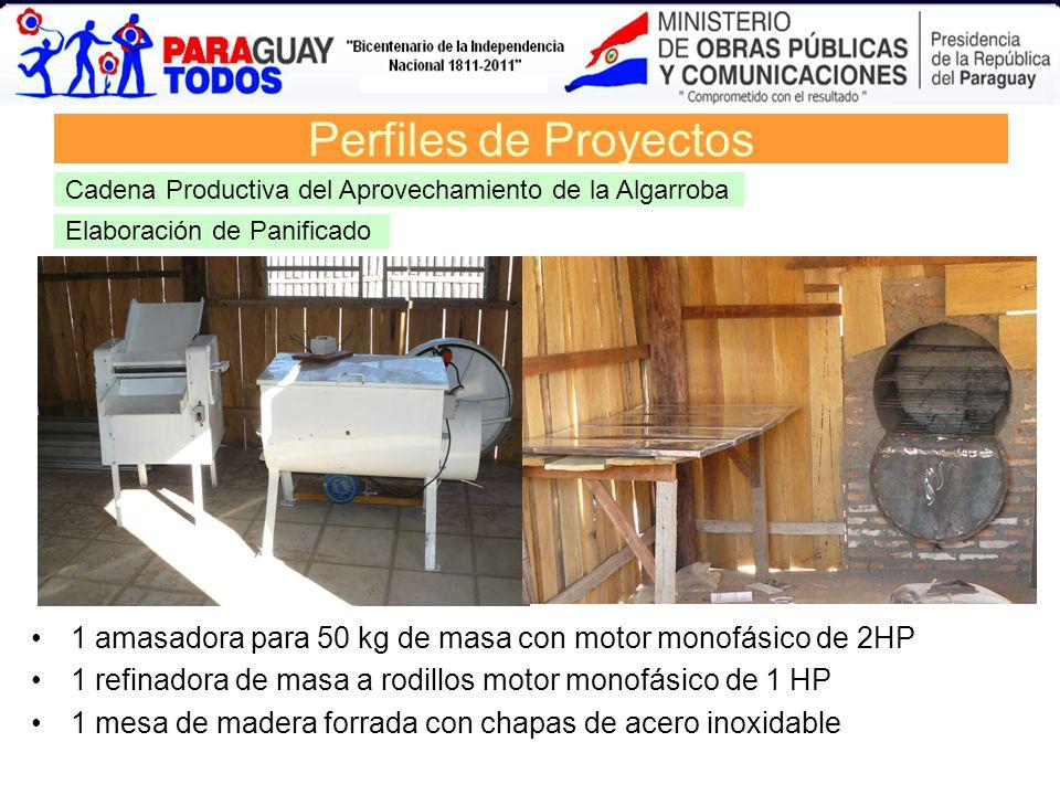 Elaboración de Panificado Perfiles de Proyectos Cadena Productiva del Aprovechamiento de la Algarroba 1 amasadora para 50 kg de masa con motor monofás