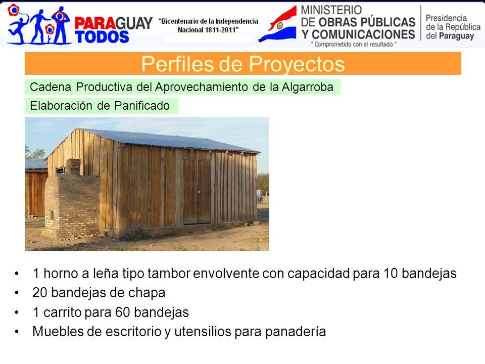 Elaboración de Panificado Perfiles de Proyectos Cadena Productiva del Aprovechamiento de la Algarroba 1 horno a leña tipo tambor envolvente con capaci