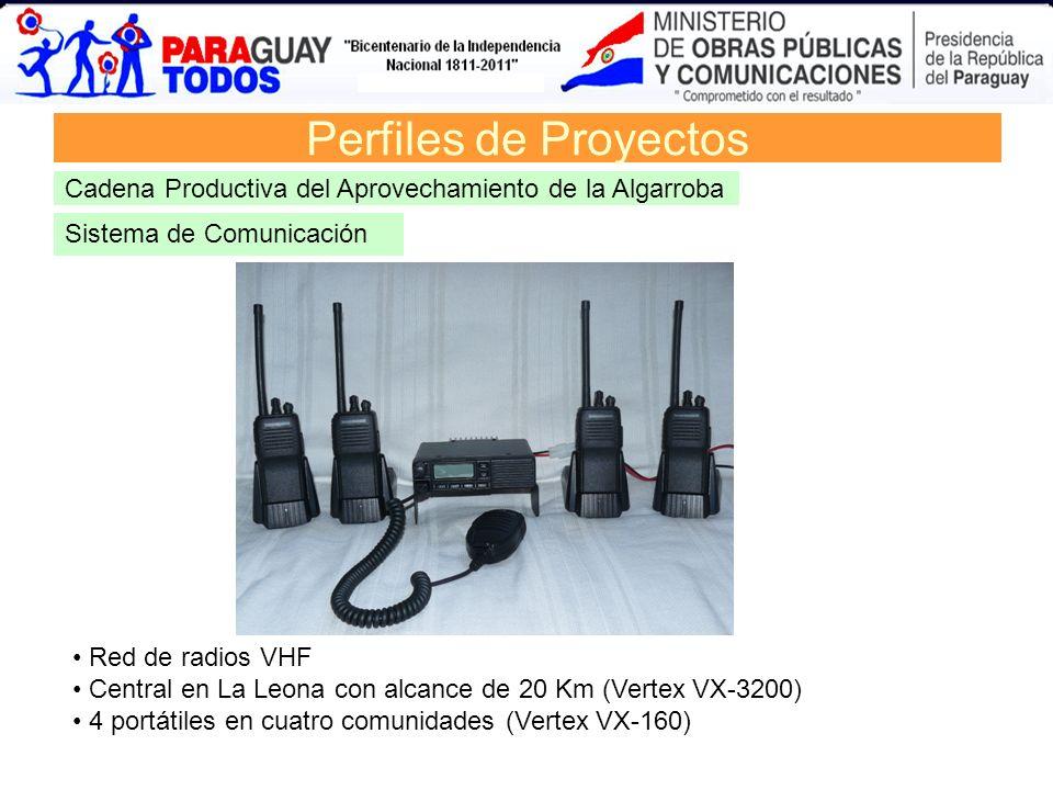 Sistema de Comunicación Perfiles de Proyectos Cadena Productiva del Aprovechamiento de la Algarroba Red de radios VHF Central en La Leona con alcance