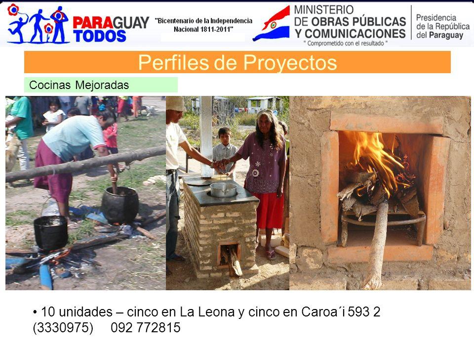 Perfiles de Proyectos Cocinas Mejoradas 10 unidades – cinco en La Leona y cinco en Caroa´i 593 2 (3330975) 092 772815