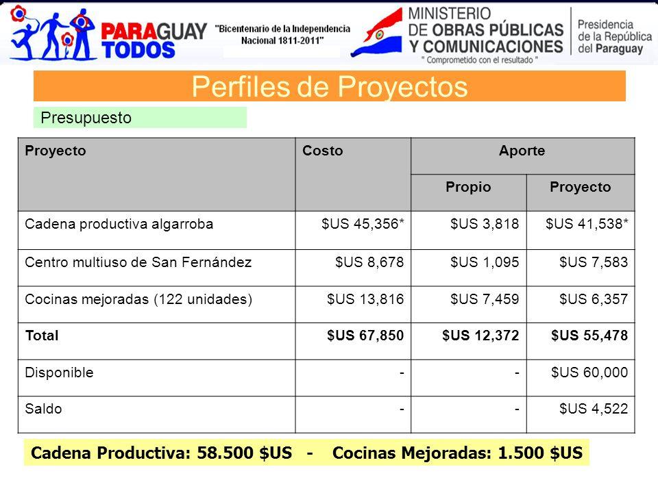 ProyectoCostoAporte PropioProyecto Cadena productiva algarroba$US 45,356*$US 3,818$US 41,538* Centro multiuso de San Fernández$US 8,678$US 1,095$US 7,