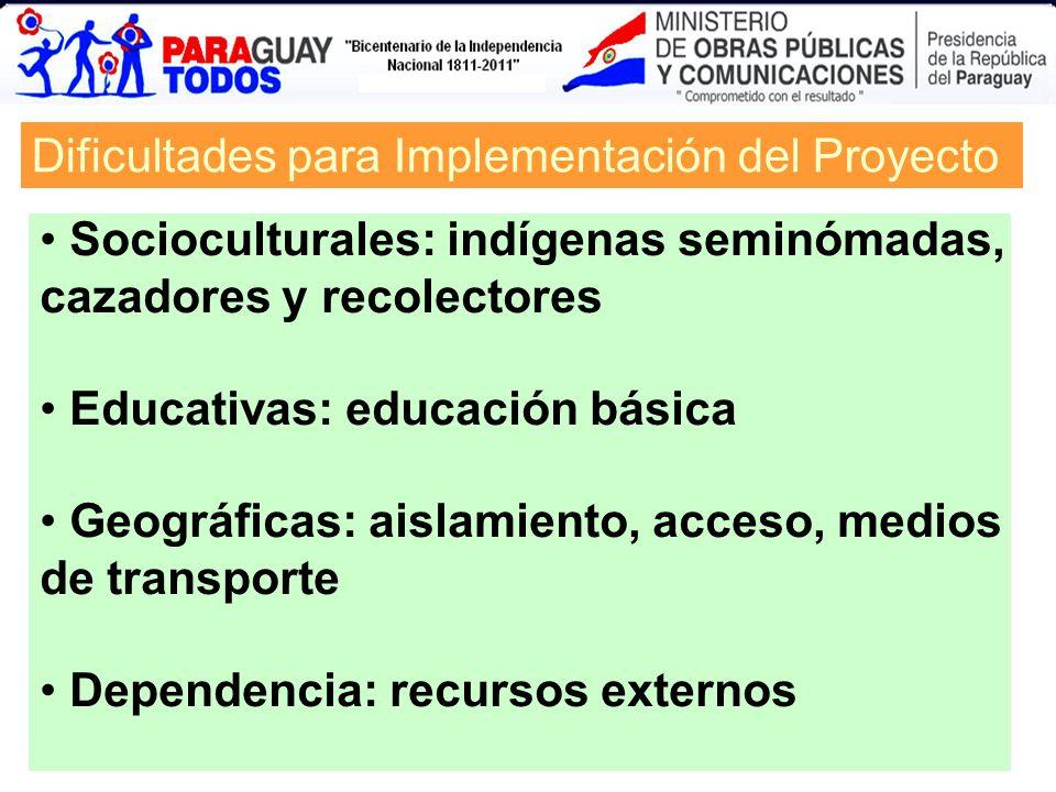 Dificultades para Implementación del Proyecto Socioculturales: indígenas seminómadas, cazadores y recolectores Educativas: educación básica Geográfica