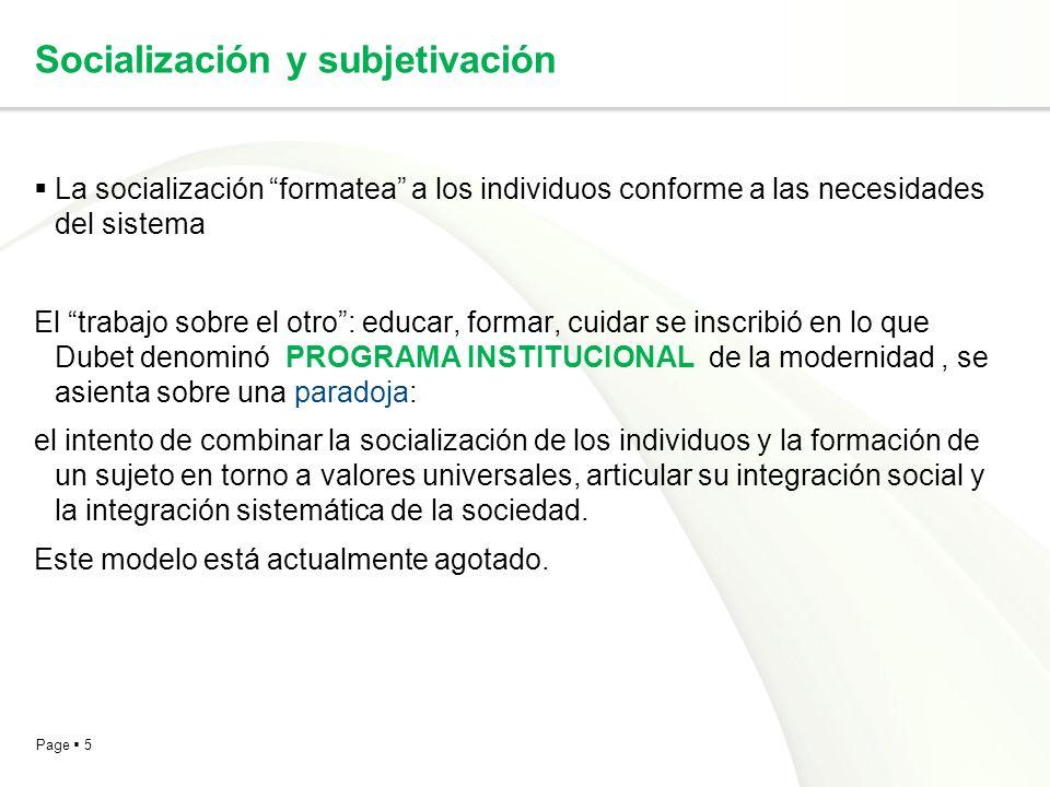 Page 5 Socialización y subjetivación La socialización formatea a los individuos conforme a las necesidades del sistema El trabajo sobre el otro: educa