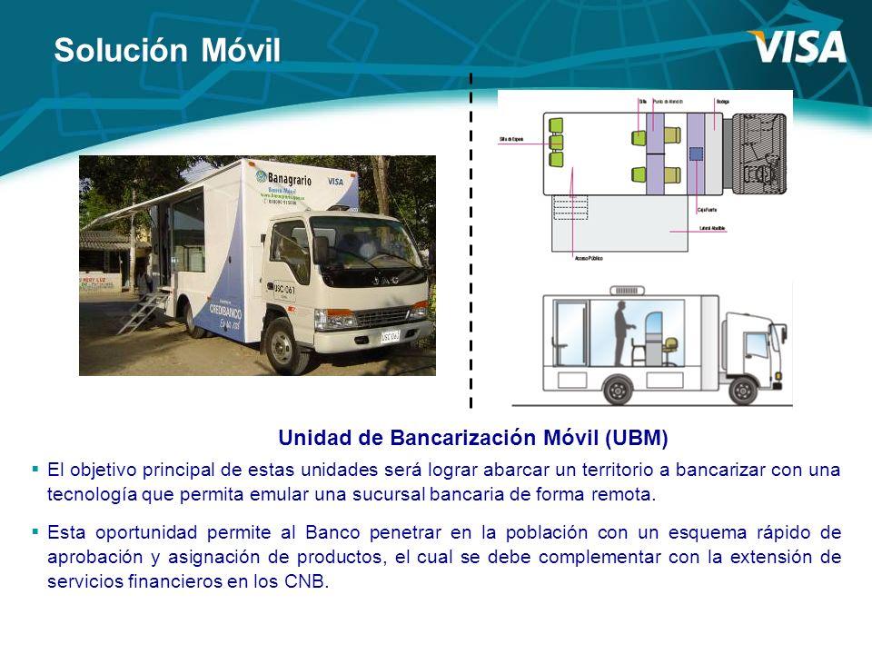 Solución Móvil Unidad de Bancarización Móvil (UBM) El objetivo principal de estas unidades será lograr abarcar un territorio a bancarizar con una tecn