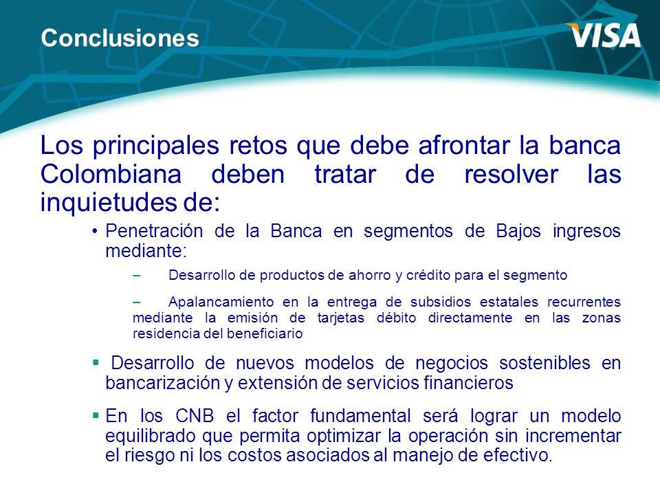 Los principales retos que debe afrontar la banca Colombiana deben tratar de resolver las inquietudes de: Penetración de la Banca en segmentos de Bajos