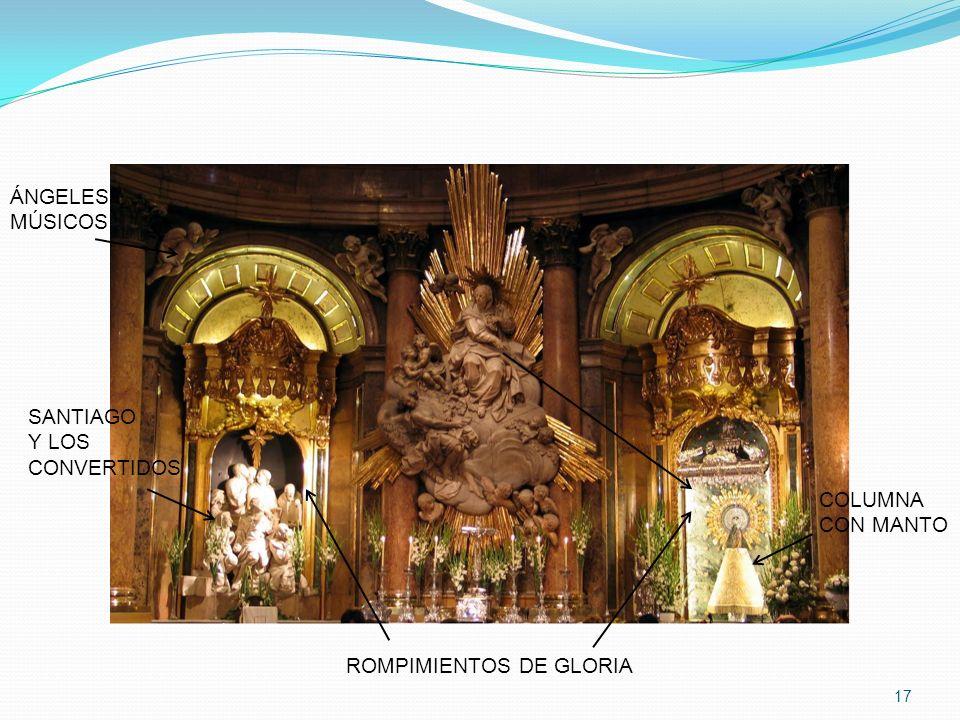 17 SANTIAGO Y LOS CONVERTIDOS COLUMNA CON MANTO ÁNGELES MÚSICOS ROMPIMIENTOS DE GLORIA