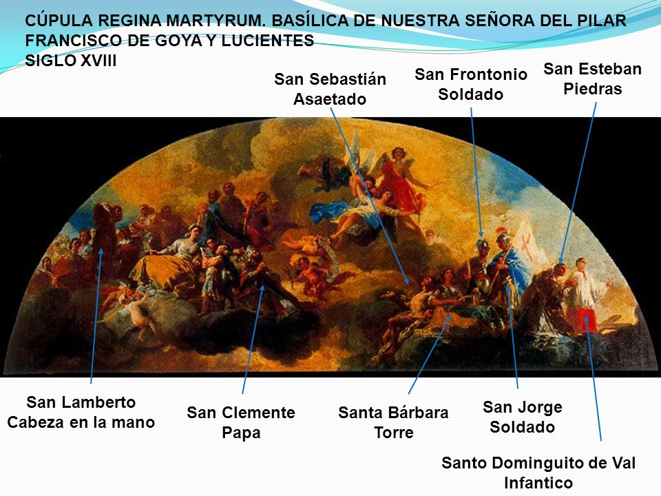 San Esteban Piedras Santo Dominguito de Val Infantico San Jorge Soldado San Lamberto Cabeza en la mano San Frontonio Soldado Santa Bárbara Torre San S