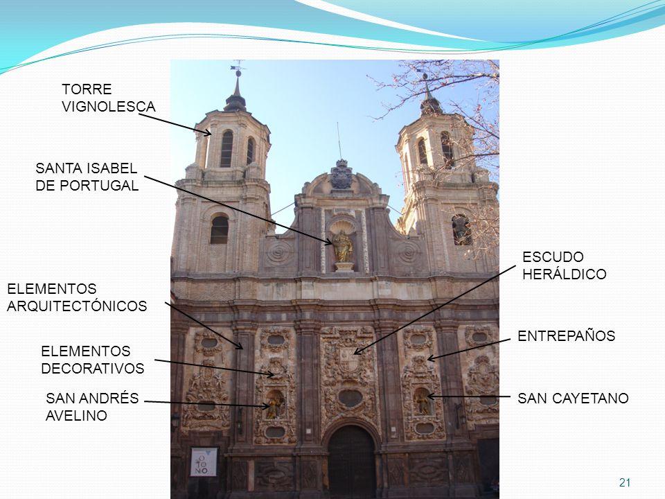 21 TORRE VIGNOLESCA SAN CAYETANO ENTREPAÑOS ESCUDO HERÁLDICO SAN ANDRÉS AVELINO SANTA ISABEL DE PORTUGAL ELEMENTOS DECORATIVOS ELEMENTOS ARQUITECTÓNIC
