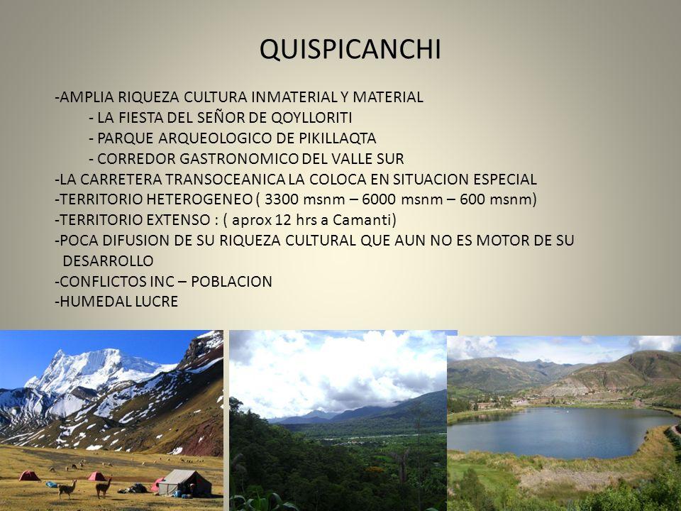 QUISPICANCHI -AMPLIA RIQUEZA CULTURA INMATERIAL Y MATERIAL - LA FIESTA DEL SEÑOR DE QOYLLORITI - PARQUE ARQUEOLOGICO DE PIKILLAQTA - CORREDOR GASTRONO