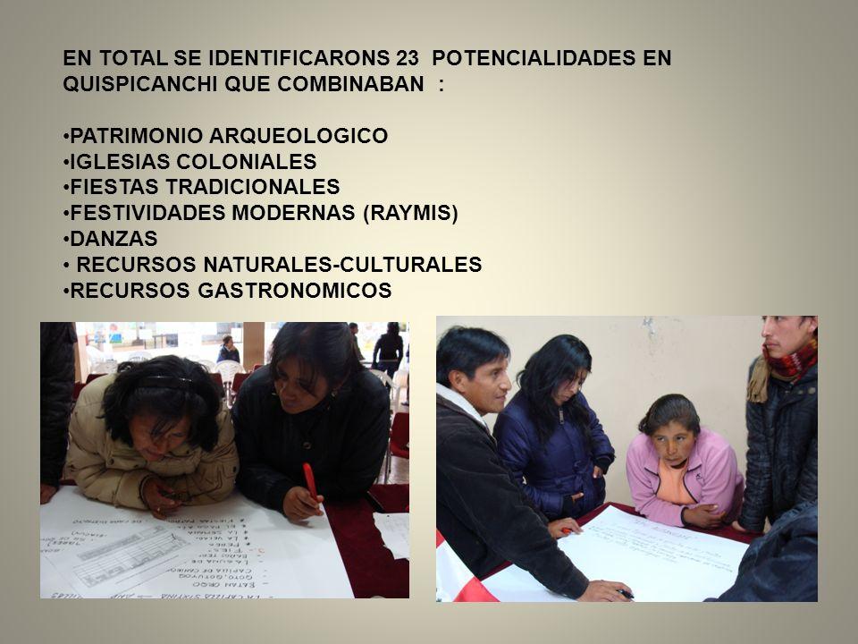 EN TOTAL SE IDENTIFICARONS 23 POTENCIALIDADES EN QUISPICANCHI QUE COMBINABAN : PATRIMONIO ARQUEOLOGICO IGLESIAS COLONIALES FIESTAS TRADICIONALES FESTI
