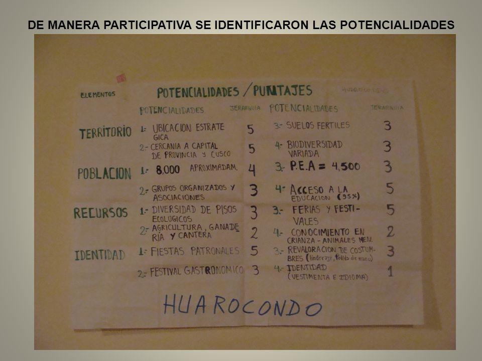 DE MANERA PARTICIPATIVA SE IDENTIFICARON LAS POTENCIALIDADES