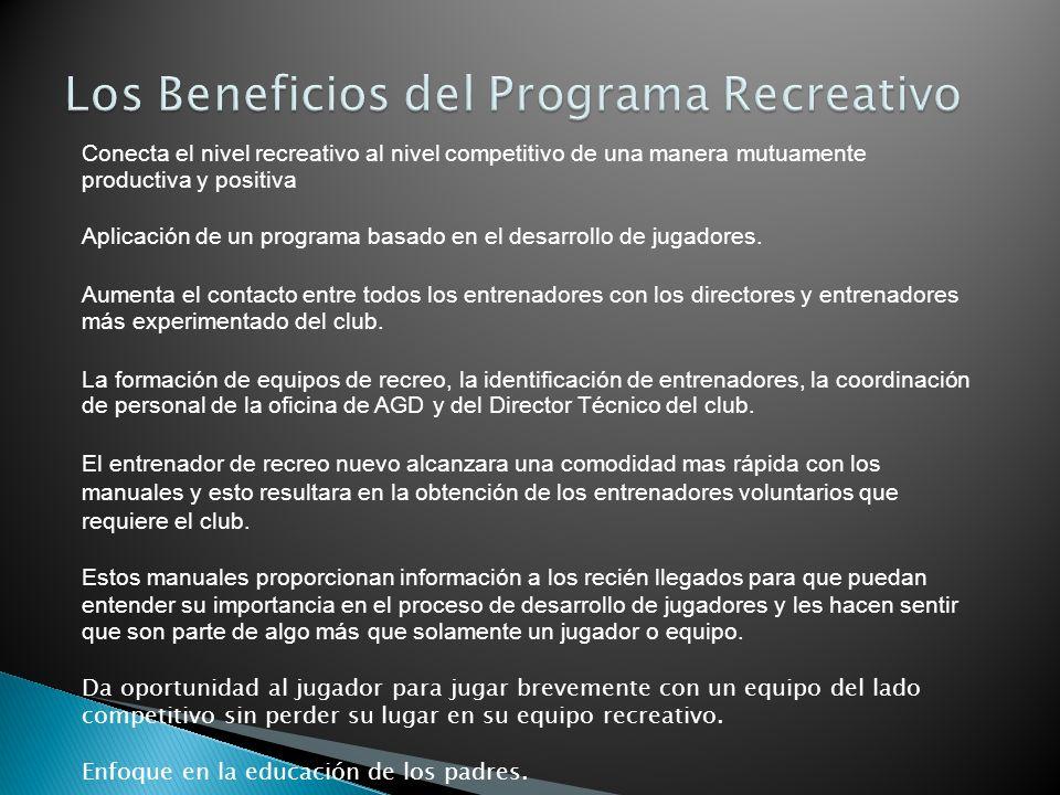 Conecta el nivel recreativo al nivel competitivo de una manera mutuamente productiva y positiva Aplicación de un programa basado en el desarrollo de j