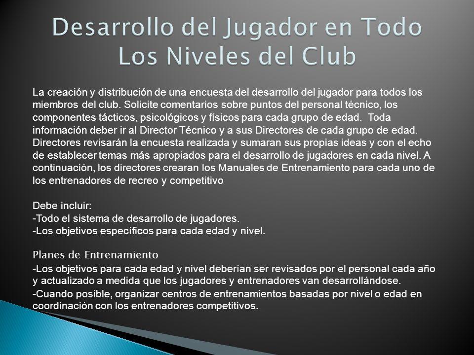 La creación y distribución de una encuesta del desarrollo del jugador para todos los miembros del club. Solicite comentarios sobre puntos del personal