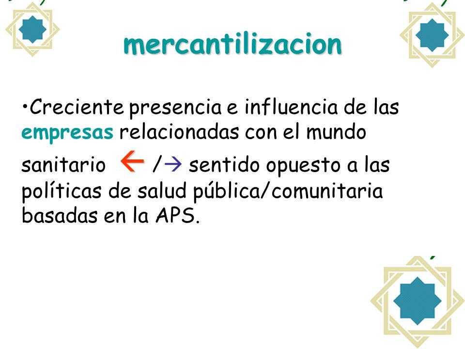 mercantilizacion Creciente presencia e influencia de las empresas relacionadas con el mundo sanitario / sentido opuesto a las políticas de salud públi