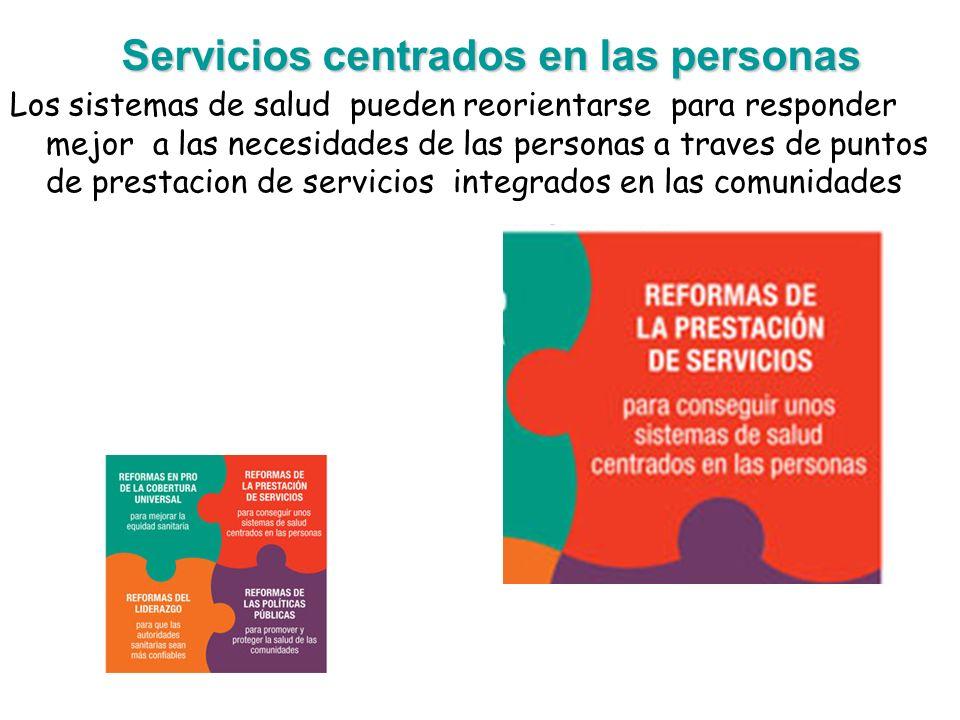 Servicios centrados en las personas Los sistemas de salud pueden reorientarse para responder mejor a las necesidades de las personas a traves de punto