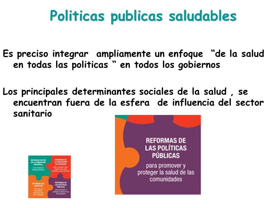 Politicas publicas saludables Es preciso integrar ampliamente un enfoque de la salud en todas las politicas en todos los gobiernos Los principales det