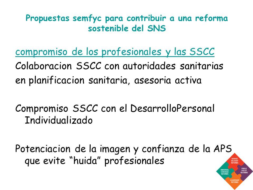 Propuestas semfyc para contribuir a una reforma sostenible del SNS compromiso de los profesionales y las SSCC Colaboracion SSCC con autoridades sanita