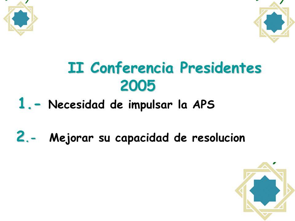 II Conferencia Presidentes 2005 1.- 2.- II Conferencia Presidentes 2005 1.- Necesidad de impulsar la APS 2.- Mejorar su capacidad de resolucion