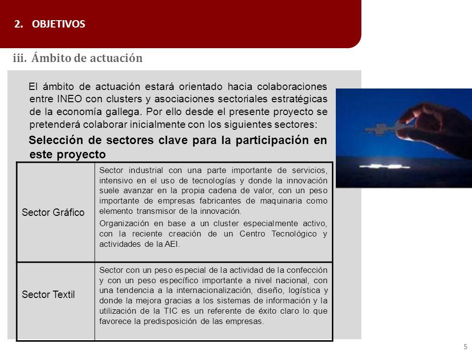 El ámbito de actuación estará orientado hacia colaboraciones entre INEO con clusters y asociaciones sectoriales estratégicas de la economía gallega. P