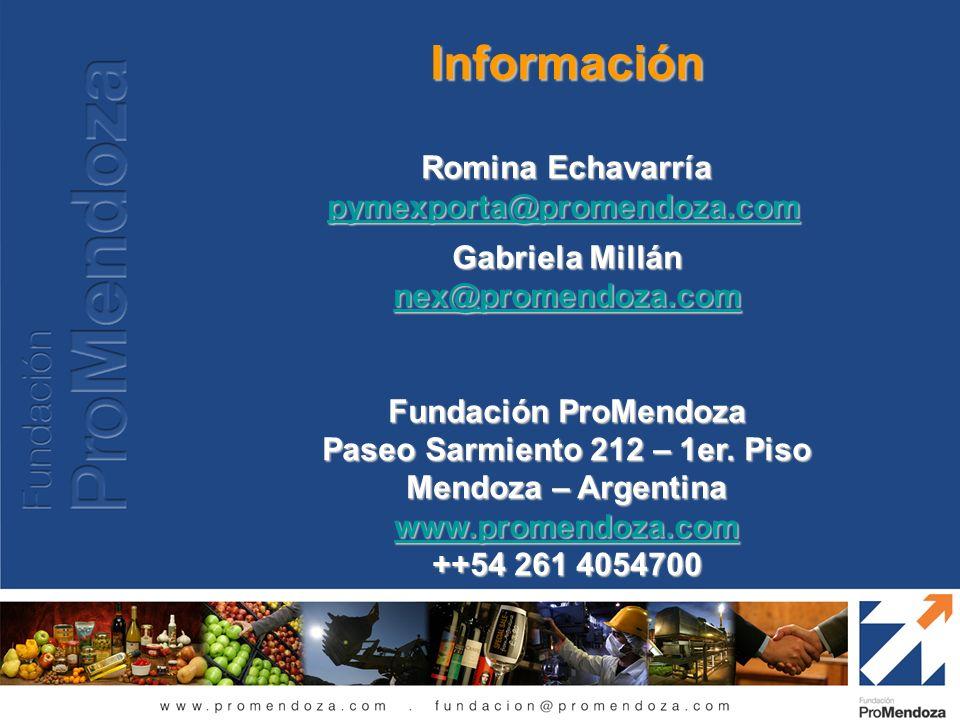 Información Romina Echavarría pymexporta@promendoza.com Gabriela Millán nex@promendoza.com Fundación ProMendoza Paseo Sarmiento 212 – 1er. Piso Mendoz