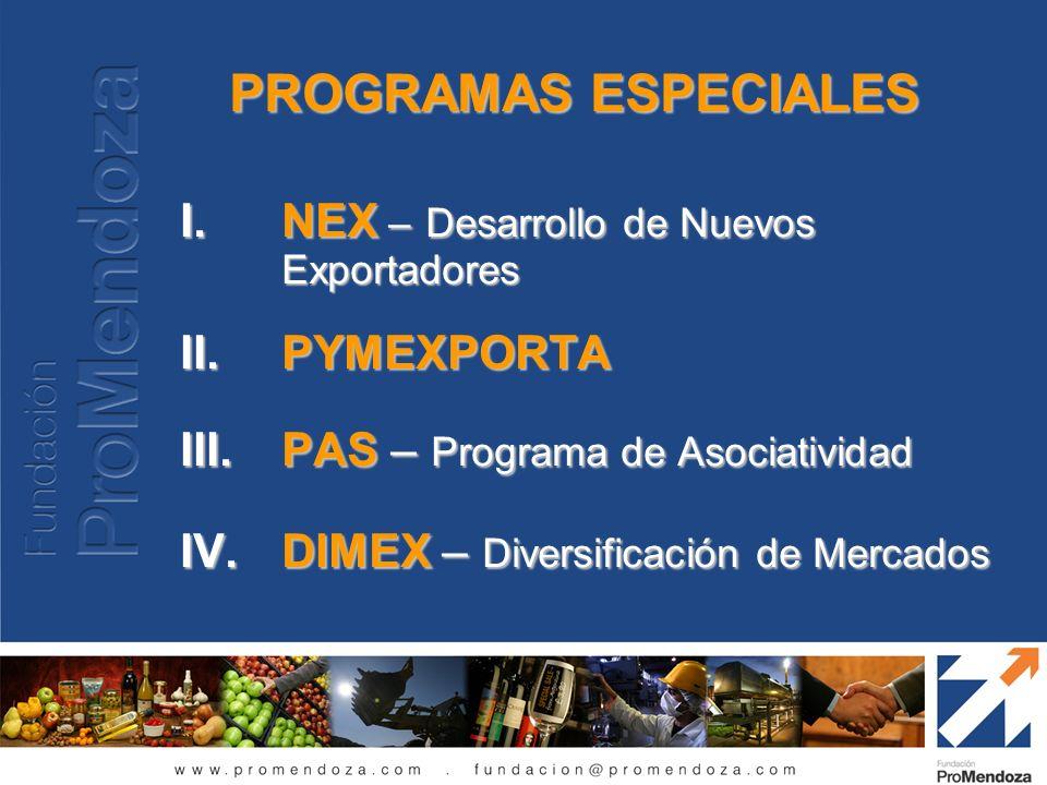 I.NEX – Desarrollo de Nuevos Exportadores II.PYMEXPORTA III.PAS – Programa de Asociatividad IV.DIMEX – Diversificación de Mercados PROGRAMAS ESPECIALE