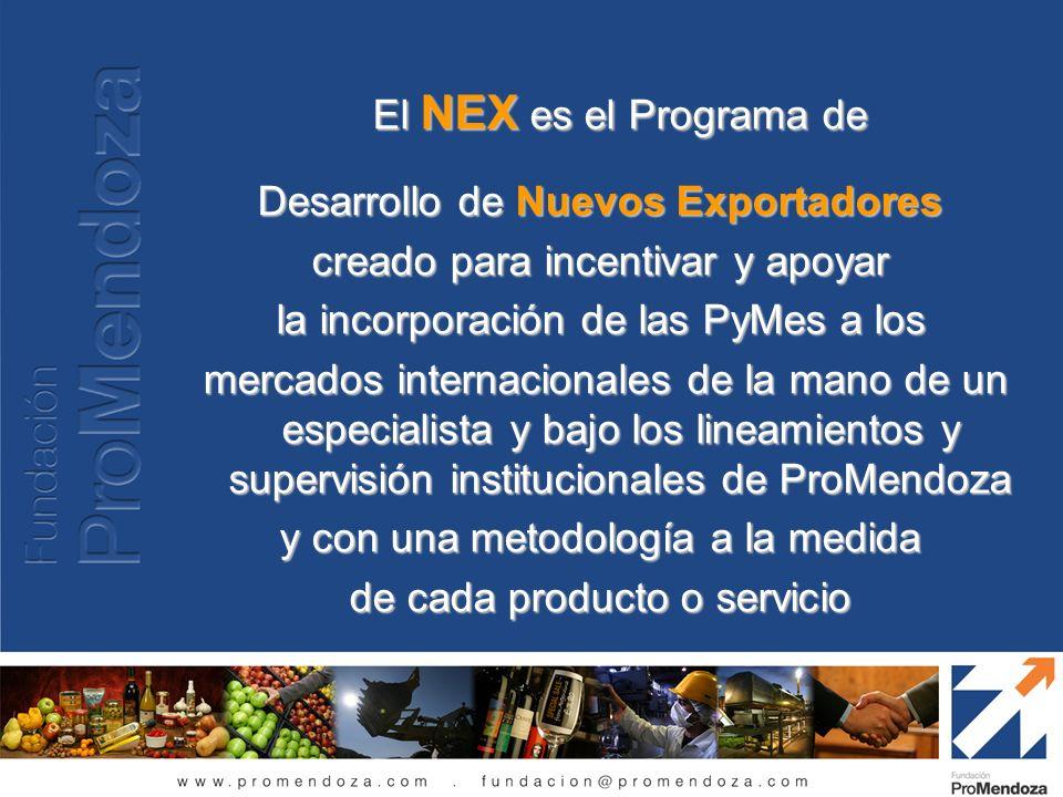 El NEX es el Programa de Desarrollo de Nuevos Exportadores creado para incentivar y apoyar la incorporación de las PyMes a los mercados internacionale