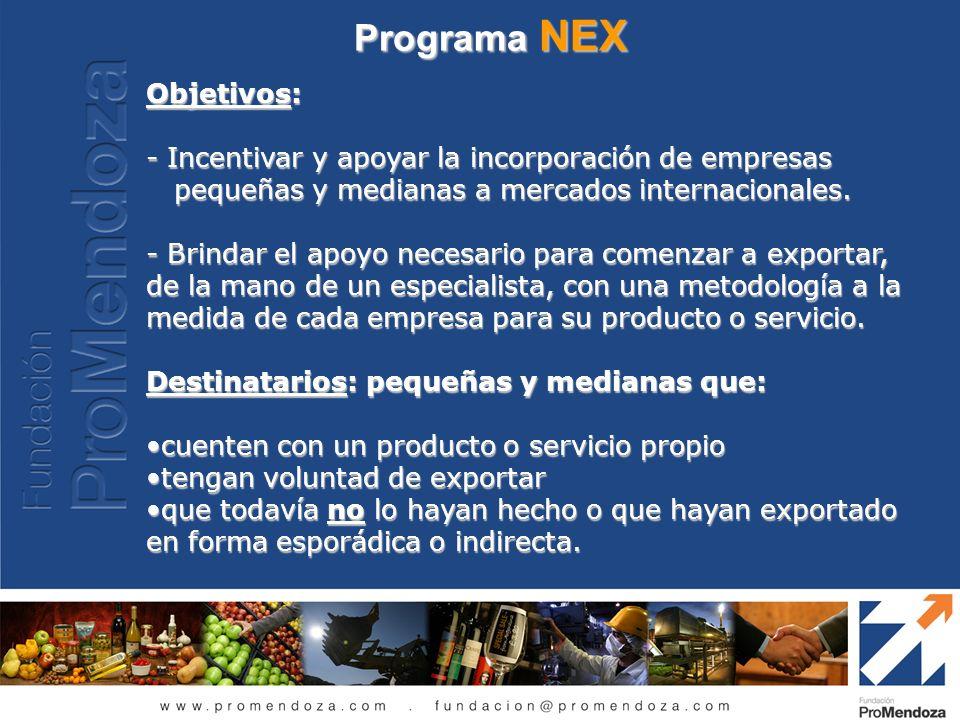 Programa NEX Objetivos: - Incentivar y apoyar la incorporación de empresas pequeñas y medianas a mercados internacionales. pequeñas y medianas a merca