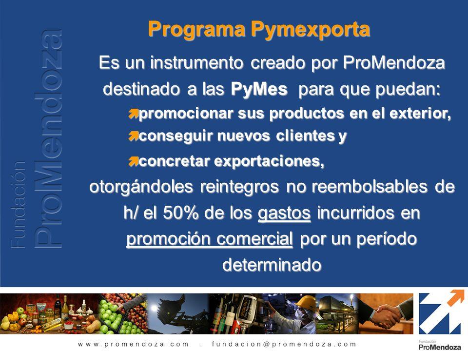 Programa Pymexporta Es un instrumento creado por ProMendoza destinado a las PyMes para que puedan: promocionar sus productos en el exterior, promocion