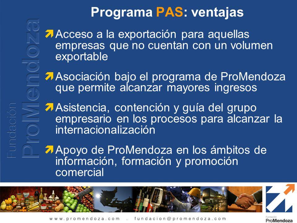 Programa PAS: ventajas Acceso a la exportación para aquellas empresas que no cuentan con un volumen exportable Asociación bajo el programa de ProMendo