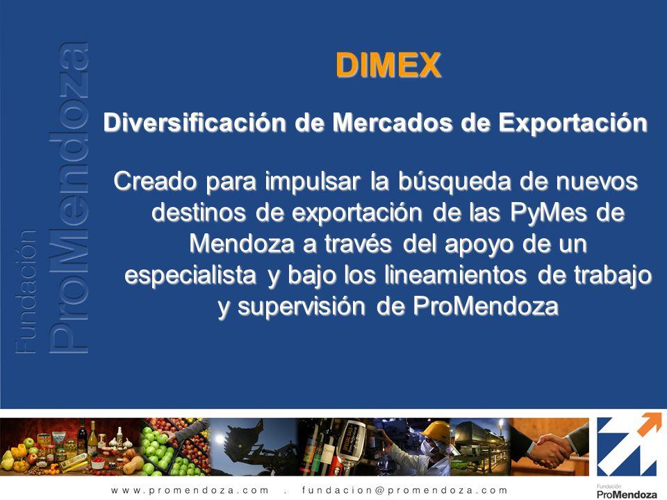 DIMEX Diversificación de Mercados de Exportación Creado para impulsar la búsqueda de nuevos destinos de exportación de las PyMes de Mendoza a través d