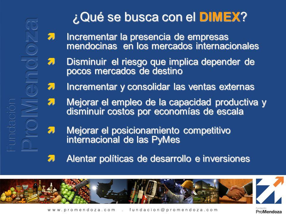 ¿Qué se busca con el DIMEX? Incrementar la presencia de empresas mendocinas en los mercados internacionales Incrementar la presencia de empresas mendo